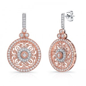 Uneek Vintage-Inspired Round Filigree Diamond Dangle Earrings, in 14K Two-Tone Gold