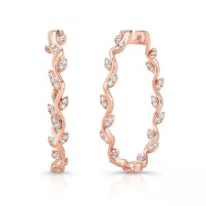 "Uneek ""Formosa"" Inside-Out Diamond Hoop Earrings, Rose Gold version"