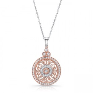 Uneek Vintage-Inspired Round Filigree Diamond Pendant, in 14K Two-Tone Gold