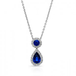 Uneek Pear and Round Blue Sapphire Pendant with Diamond Halos