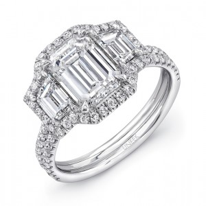 Uneek LVS894 Emerald-Cut Diamond Three-Stone Engagement Ring with Round Diamond Halo and Pave Double Shank