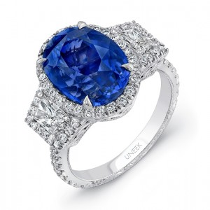 Uneek Three-Stone Ring with Oval Blue Sapphire Center and Trapezoid Diamond Sidestones, with Filigree and Hand Engraving Details