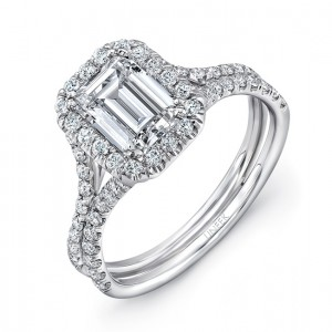 """Emerald Cut Diamond Halo Engagement Ring with Pave """"Silhouette"""" Double Shank from Uneek"""
