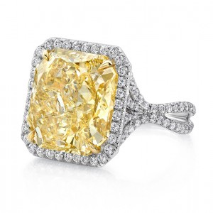 Uneek LVS948 12-Carat Radiant-Cut Fancy Yellow Diamond Halo Ring