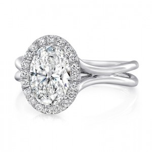 """Oval Diamond Halo Engagement Ring with High Polish """"Silhouette"""" Double Shank from Uneek"""