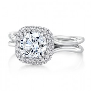 """Round Diamond Engagement Ring with Cushion-Shaped Bombay Halo and """"Silhouette"""" Double Shank from Uneek"""