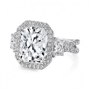 Uneek LVS983RAD Three-Stone Engagement Ring with 6-Carat Radiant-Cut Center on Halo and Pave Double Shank