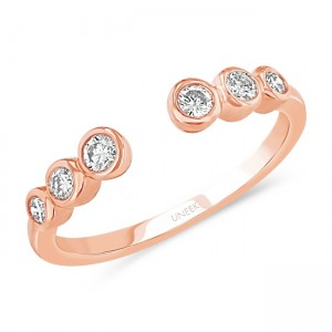 "Uneek ""Camden"" Cuff-Style Diamond Stacking Ring, Rose gold version"