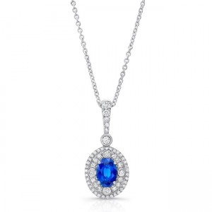 Uneek Oval Blue Sapphire Pendant with Double Halo and Accent Bezels, White Gold