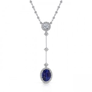 Uneek Oval Blue Sapphire Y Pendant Necklace with Accent Round Diamonds, 18K White Gold