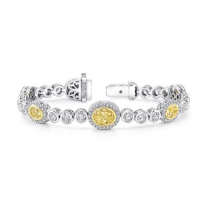 Uneek Mixed-Size Oval Yellow Diamond Bracelet with Round Colorless Diamond Bezels