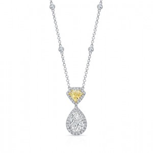 Unique exquisite color diamond pendants and necklaces from uneeks 18k uneek pear shaped diamond pendant with shield cut fancy yellow diamond accent aloadofball Gallery