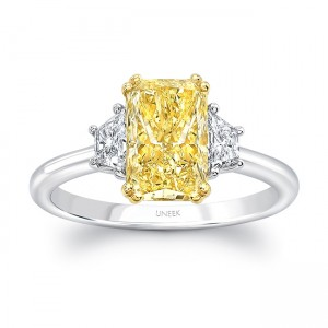 Uneek Three-Stone Ring with Elongated Radiant-Cut Fancy Yellow Diamond Center, Platinum & 18K Yellow Gold
