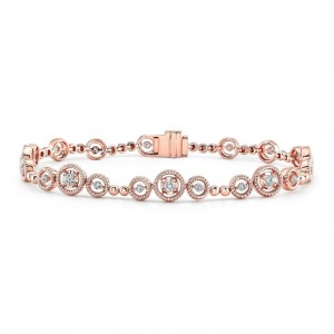 Uneek Mixed-Size Round Diamond Bracelet with Rope Milgrain Floating Halo Details, Rose Gold