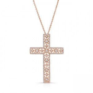 Uneek Openwork Diamond Cross Pendant, 14K Rose Gold