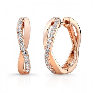Uneek Rose Gold Hoop Diamond Earrings LVEW691R