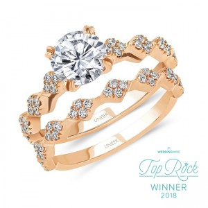 Uneek Round Diamond Cathedral Setting Engagement Ring and Matching Wedding Band, with Diamond-Shaped Cluster Accents, Rose Gold version