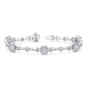Uneek Contemporary Diamond Bracelet with Geometric Motif, Platinum
