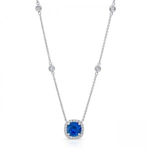 Uneek Round Blue Sapphire Pendant with Cushion-Shaped Diamond Halo, 18K White Gold