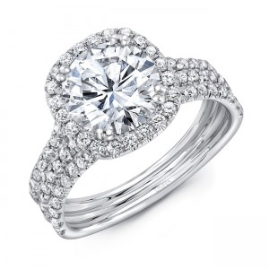 Uneek Round Diamond Engagement Ring with Cushion-Shaped Halo and Pave Triple Shank, 14K White Gold