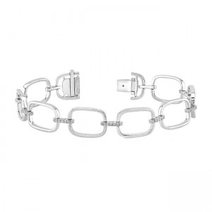Uneek High Polish Link Bracelet with Pave Diamond Bars, in 18K White Gold