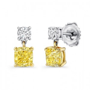 Uneek Cushion-Cut Fancy Yellow Diamond Petite Drop Earrings, 18K Gold