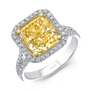 Uneek 4-Carat Radiant-Cut Fancy Intense Yellow Diamond Halo Ring with Split Shank, 18K Gold