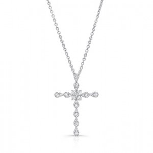 Uneek Stylized Cross Pendant with 0.30 Carats of Diamonds, 14K White Gold