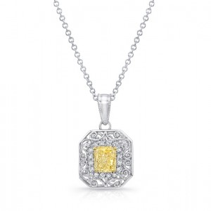 Uneek Radiant-Cut Fancy Yellow Diamond Pendant with Diamond and Filigree Halo, 18K Gold