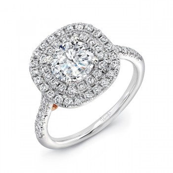 """Splendore"" Vintage-Inspired Round Diamond Double Halo Engagement Ring from Uneek"