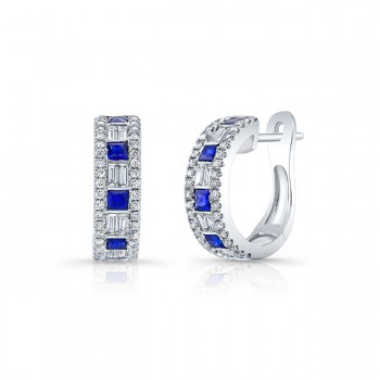 Uneek Blue Sapphire Huggies, in 18K White Gold