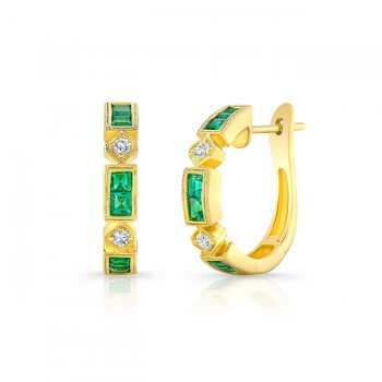 Uneek Emerald Huggies, in 18K Yellow Gold