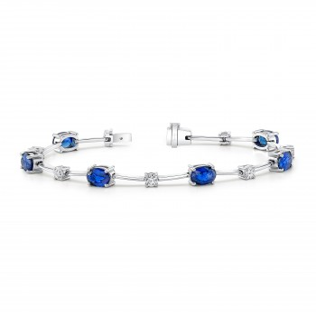 Uneek Blue Sapphire and Diamond Bracelet, in 18K White Gold
