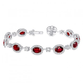 Uneek Oval Ruby Bracelet, in 18K White Gold