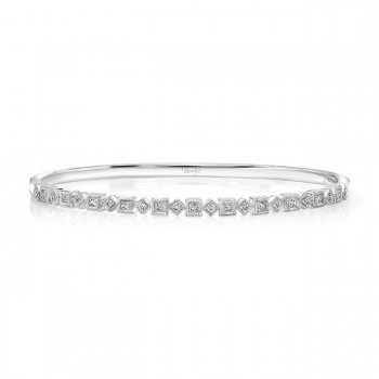 "Uneek ""Broadway"" Stackable Diamond Bangle, White Gold version"