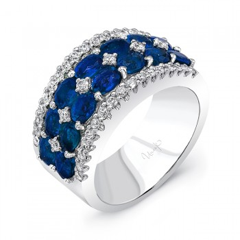Uneek Two-Row Oval Blue Sapphire Band with Diamond Accents and Edging, 18K White Gold