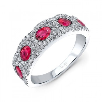 Uneek Ruby and Diamond Fashion Ring, in 18K White Gold