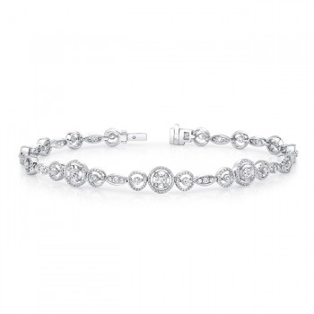 Uneek Round Diamond Bracelet with Mixed-Size Round Bead Milgrain Floating Halo Details and Navette-Shaped Accent Clusters, White Gold
