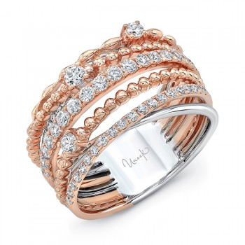 """Uneek """"Teneriffe II"""" Crossover-Style Stack-Illusion Diamond Band, in 14K Two-Tone Gold"""