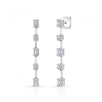 Uneek Emerald and Diamond Earrings, in 18K White Gold