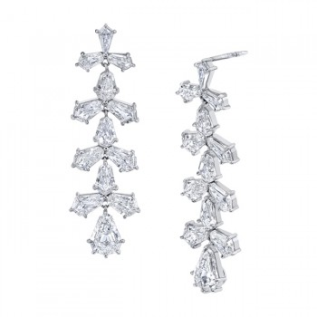 Uneek Shield Diamond Dangling Earring, in Platinum