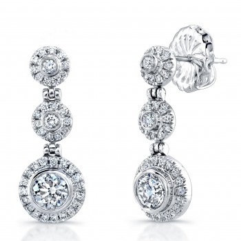 Uneek 18K White Gold Diamond Earrings LVE272