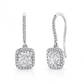18K White Gold Cushion Shaped Diamond Earrings LVE309