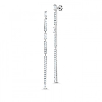 Uneek Diamond Dangling Earrings, in 18K White Gold