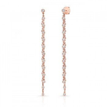 Uneek Cascade Collection Threader-Illusion Diamonds-by-the-Yard Dangle Earrings, 18K Rose Gold