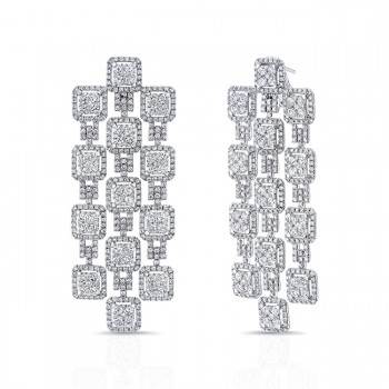 Uneek Dangling Diamond Earrings, in 18K White Gold