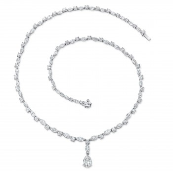Uneek Pear Shaped GIA Certified G/VS2 Diamond Necklace, in 18K White Gold