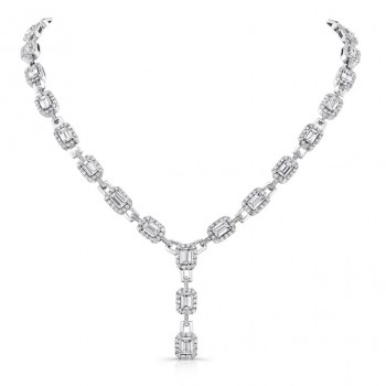 Uneek Emerald Cut Diamond Signature Lariat Necklace, 18K White Gold