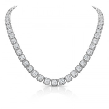 Uneek Cushion Cut Diamond Signature Necklace in 18K White Gold