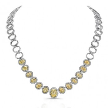 Uneek Oval Fancy Yellow Diamond Necklace, in 18K Gold